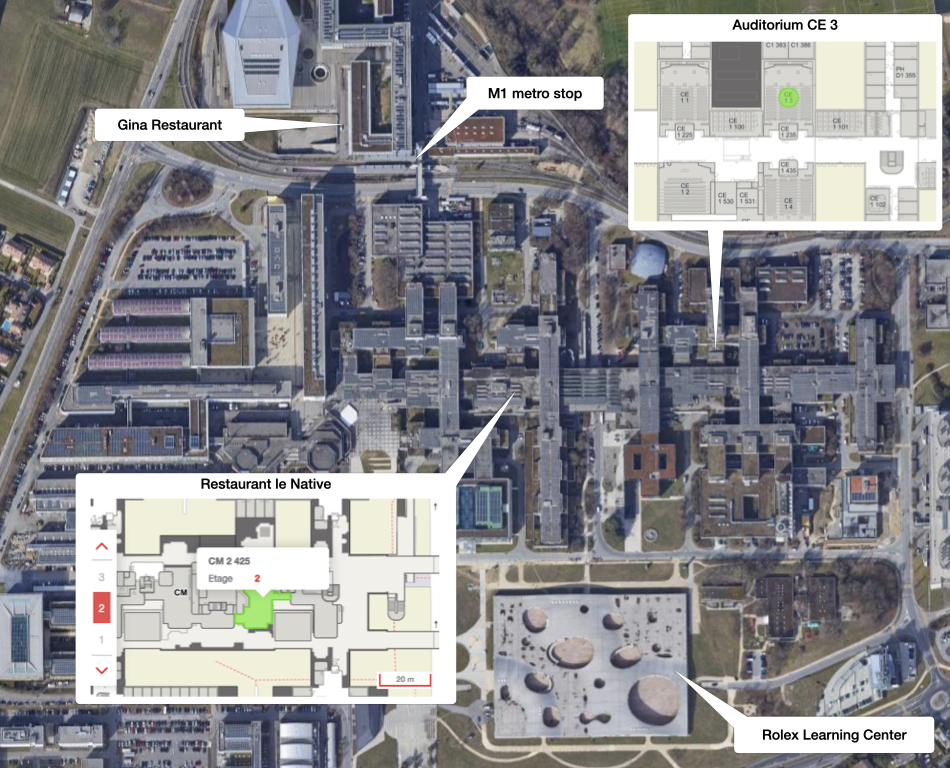 Map of relevant locations on campus